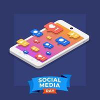 pôster do dia de mídia social com ícones no smartphone vetor