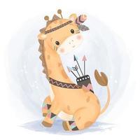 adorável bebê girafa em traje de guerreiro tribal vetor