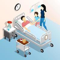 médico paciente pessoas isométricas vetor