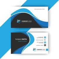 modelo de cartão de visita ondulado azul vetor