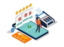 conceito isométrico de loja móvel online vetor