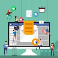 pessoas pequenas construindo equipes de marketing por e-mail no computador vetor