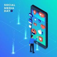pôster do dia de mídia social com personagem no smartphone vetor