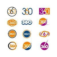 Conjunto de logotipo 360 vetor