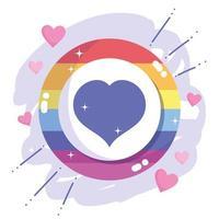 feliz dia do orgulho, emblema da comunidade lgbt com arco-íris de coração vetor