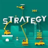 conceito de estratégia de construção de guindaste de canteiro de obras vetor
