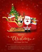 modelo de pôster de natal com personagens festivos