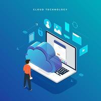 conceito de configuração de rede de usuário de tecnologia de nuvem isométrica vetor