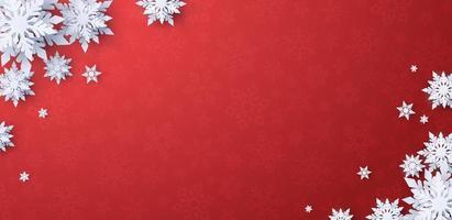 fundo de banner vermelho de natal com flocos de neve