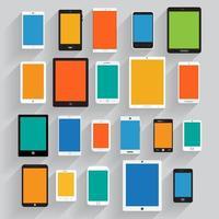 conjunto gráfico de telefones celulares e tablets vetor