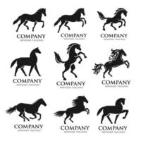 conjunto de logotipo de silhueta de cavalo