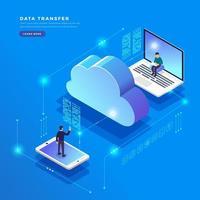 conceito de configuração de rede de usuário de tecnologia de computação em nuvem isométrica vetor