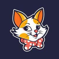 cabeça de desenho de gato fofo vetor