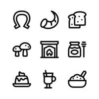 ícones de linha de ação de graças, incluindo ferradura, cornucópia e muito mais vetor