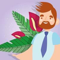 homem sorrindo em um fundo de flor