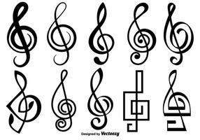 Violino chave ícones do vetor