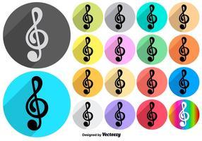 Vector colorido da música Ícones da chave de violino