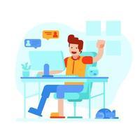 trabalhe em casa e fique conectado vetor