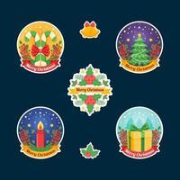coleção de adesivos coloridos da festa de natal vetor