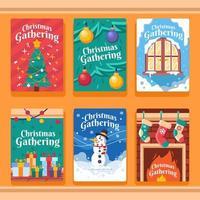 conjunto de cartão de convite divertido para o Natal vetor