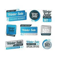 pacote de etiquetas de venda de inverno azul vetor