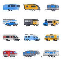 conjunto de ícones de veículos recreativos e autocaravana vetor