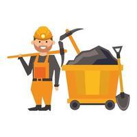 trabalhador de mineração com picaretas e pá vetor