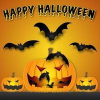 desenho de halloween com abóboras e morcegos vetor
