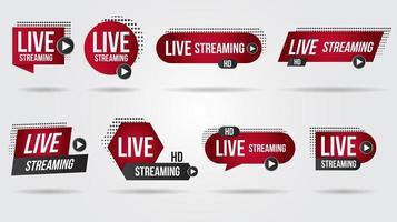conjunto de ícones de streaming de vídeo ao vivo vetor