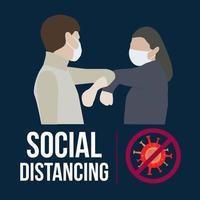 Covid 19 distanciamento social com casal usando máscaras faciais vetor