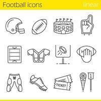 conjunto de ícones lineares de futebol americano vetor