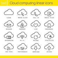 conjunto de ícones lineares de computação em nuvem