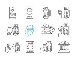 conjunto de ícones lineares de pagamento nfc vetor