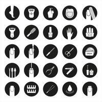 conjunto de ícones de manicure e pedicure vetor