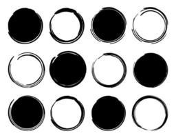 quadros redondos de tinta preta vetor