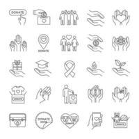 conjunto de ícones lineares de caridade
