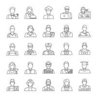 conjunto de ícones lineares de profissões vetor