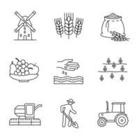 conjunto de ícones lineares de agricultura
