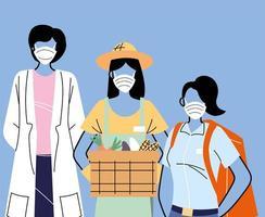 várias ocupações com pessoas usando máscaras vetor