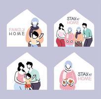 conjunto de isolamento e distanciamento social, fique em casa vetor