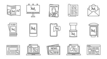 conjunto de ícones lineares de canais de publicidade vetor