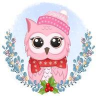 coruja com coroa de flores para design de estilo aquarela de natal vetor
