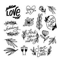 casamento doodle ornamentos florais vetor