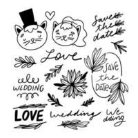 doodle enfeites florais de casamento e coleção de personagens vetor