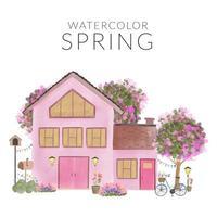 aquarela paisagem de primavera com casa e jardim vetor