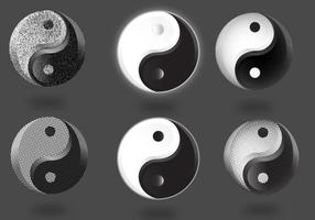 Conjunto de símbolos de Tai Chi vetor