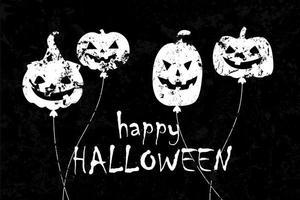 balão de halloween com design grunge de rostos assustadores