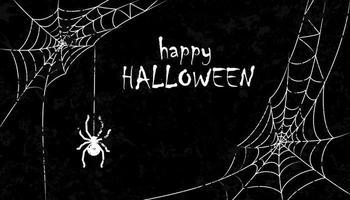 desenho halloweengrunge com aranha e teias assustadoras vetor
