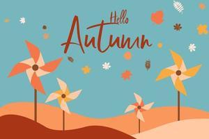 olá paisagem de outono com cataventos coloridos vetor