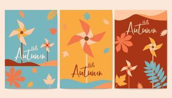 Olá cartazes de outono com cataventos coloridos vetor
